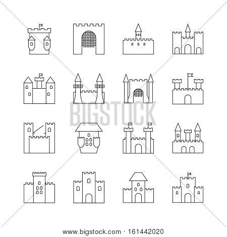 Historical ancient castle linear icons. Citadel and chateau fortress outline vector icons. Castle with tower, building castle kingdom medieval illustration