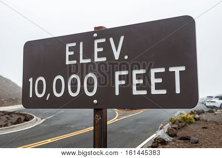 Elevetion Sign On The Mountain