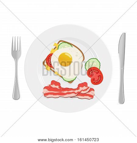 Breakfast. Nutritious and healthy Breakfast. Toast with cheese cucumber bacon tomato and a fried egg. Flat design. Illustration in top view.
