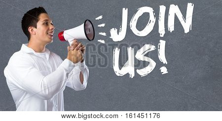 Join Us Participate Invitation Team Sports Training Young Man Megaphone