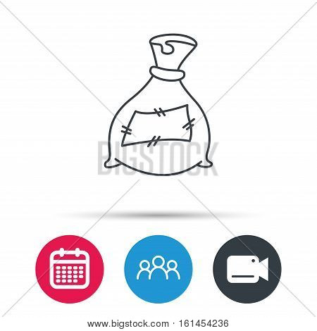 Bag with fertilizer icon. Fertilization sack sign. Farming or agriculture symbol. Group of people, video cam and calendar icons. Vector