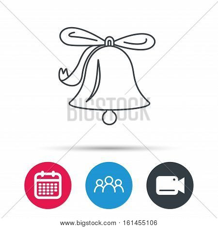 Ringing jingle bell icon. Sound sign. Alarm handbell symbol. Group of people, video cam and calendar icons. Vector