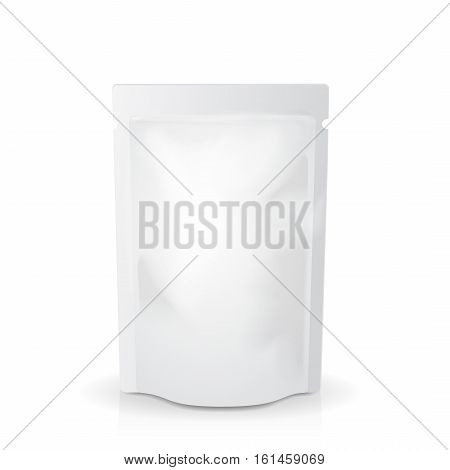 White mock up blank foil food or drink bag tamplate isolated illustration
