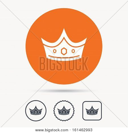 Crown icon. Royal throne leader symbol. Orange circle button with web icon. Star and square design. Vector