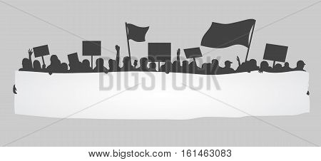 A silhouette of cheering or protesting crowd with flags, plackards and big banner