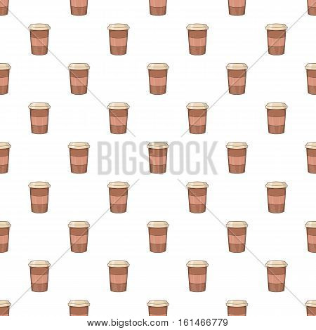 Brown paper cup of coffee pattern. Cartoon illustration of brown paper cup of coffee vector pattern for web