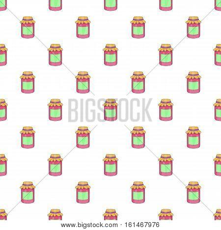 Jam in a glass jar pattern. Cartoon illustration of jam in a glass jar vector pattern for web