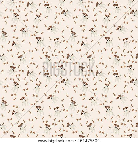 Jack Russell Terrier Vector Seamless pattern. Dog, bone, paw print
