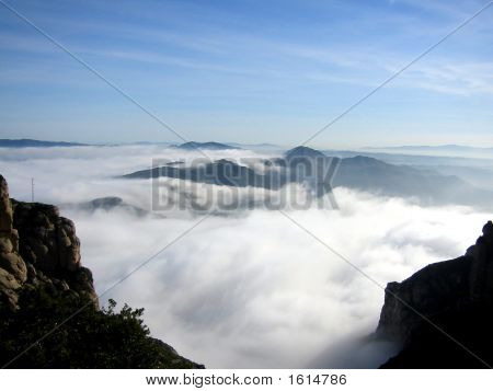 Walking In The Clouds At Montserrat, Barcelona, Spain