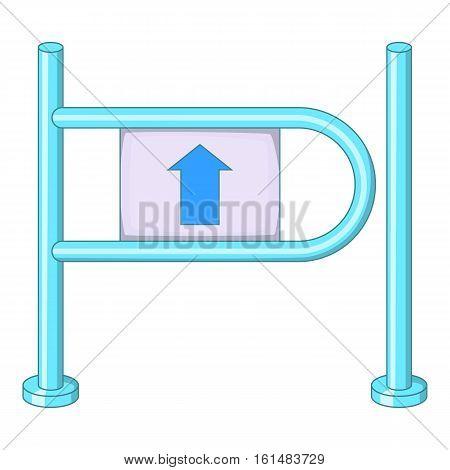 Shop entrance gate icon. Cartoon illustration of shop entrance gate vector icon for web design