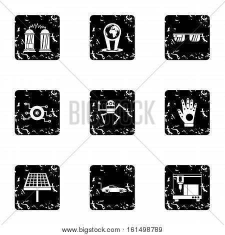 Latest electronic devices icons set. Grunge illustration of 9 latest electronic devices vector icons for web