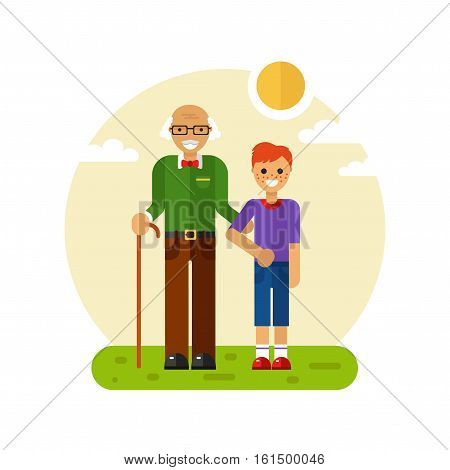 Vector flat design illustration of smiling boy with freckles on a walk with disabled grandfather in glasses with stick. Grandpa keeping grandson's hand. Disability & Family helping concept for banner
