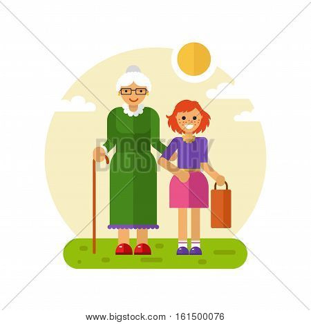 Vector flat design illustration of smiling girl with freckles helps carry bag of disabled grandmother in glasses with stick. Grandma keeping granddaughter's hand. Disability & Family helping concept