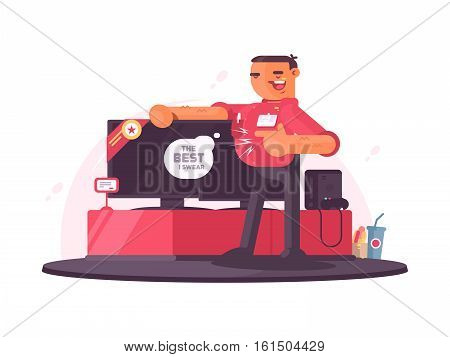 Successful salesman in electrical shop sells plasma TV. Vector illustration