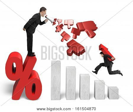Boss using megaphone spraying out 3D thumbs down objects on percentage sign yelling at his employee carrying 3D red arrow up jumping on growing bar graphs isolated on white background.