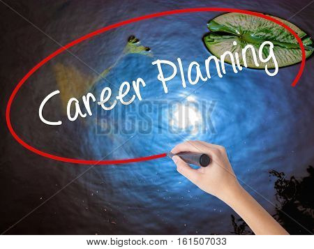 Woman Hand Writing Career Planning With Marker Over Transparent Board
