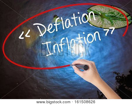 Woman Hand Writing Deflation - Inflation With Marker Over Transparent Board.