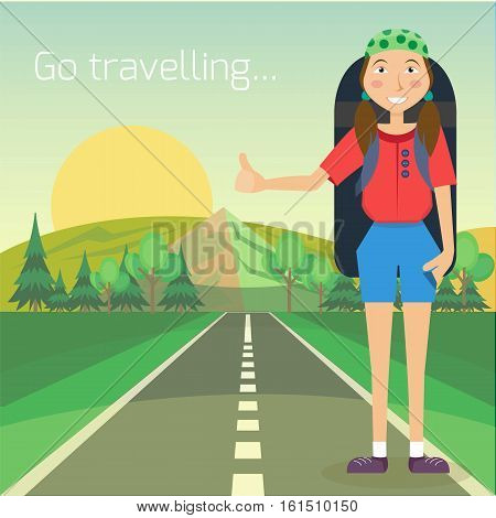 Travel hitchhiking concept. Hitchhiker standing on the road with big backpack. Individual tourism and journey. Tourist on the road. Vector illustration. Flat cartoon style