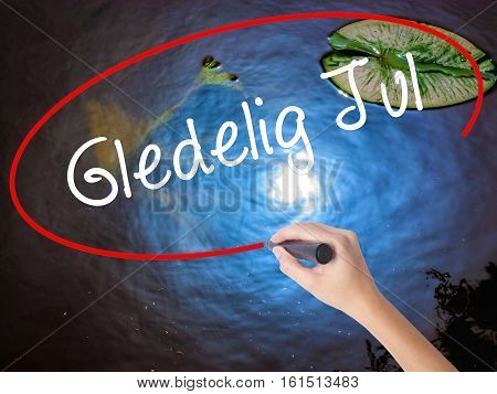 Woman Hand Writing Gledelig Jul  (happy Christmas In Norwegian) With Marker Over Transparent Board