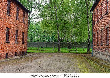 Oswiecim, Poland - May 2, 2014: Red brick barracks at Auschwitz concentration camp Poland.