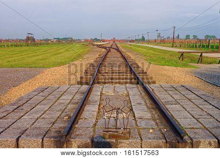 Oswiecim, Poland - May 2, 2014: Rail track at Auschwitz Birkenau concentration camp Poland.