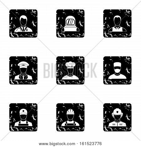 Profession icons set. Grunge illustration of 9 profession vector icons for web