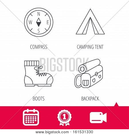 Achievement and video cam signs. Backpack, camping tend and hiking boots icons. Compass linear sign. Calendar icon. Vector