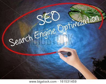 Woman Hand Writing Seo Search Engine Optimization With Marker Over Transparent Board