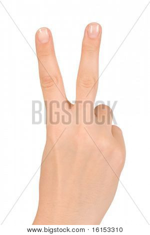 Human hand giving victory sign