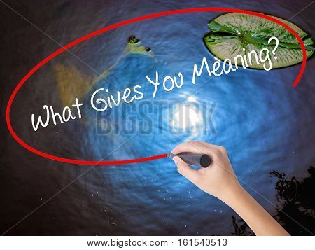 Woman Hand Writing What Gives You Meaning? With Marker Over Transparent Board