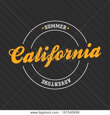 California print for t-shirt with lettering