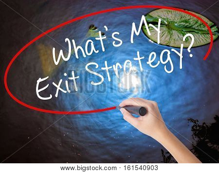 Woman Hand Writing What's My Exit Strategy? With Marker Over Transparent Board