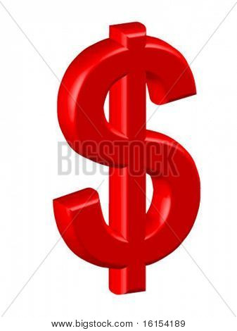 3d dollar sign - vector illustration
