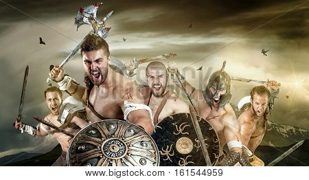 Group of ancient warriors or Gladiators ready to battle outdoors