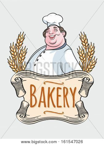 Isolated image of chef baker label on a white background