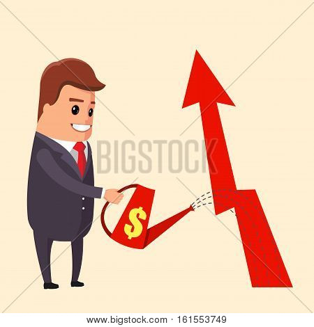 Businessman is watering a tree of money. Increase revenue, investment. Isolated illustration, flat, vector EPS10
