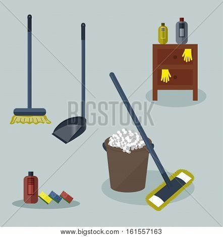 Tools for housekeeping: a brown bucket with soapy foam, MOP with dark blue handle and cloth and bottle of detergent with cover. Brown bedside table. Brush and dustpan. Colorful sponges. Vector illustration