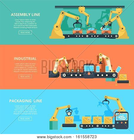Vector conveyor horizontal banners. Industrial automation conveyor robotic hands for manufacture. Assembly and packaging line conveyor illustration