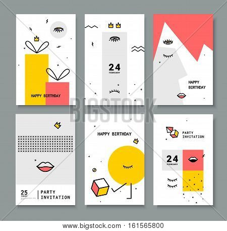 A set of cards for the holiday. Cards with design elements 80's. Bright eyes and lips for printing on fabric, invitations, parties.