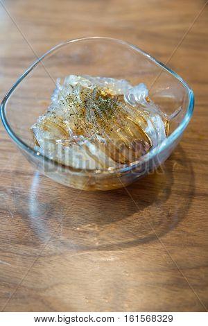 Konjac jelly, pudding with seaweed, japanese dessert