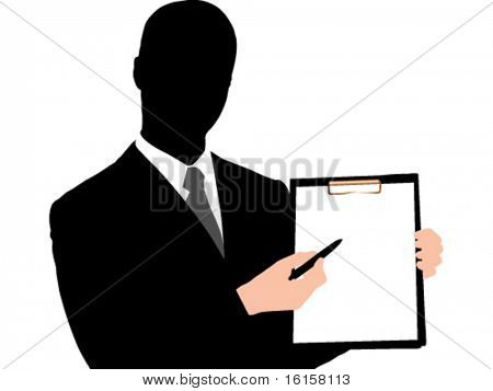 Business man holding clipboard