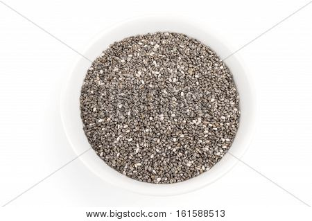Organic dry chia seeds isolated on a white background cutout