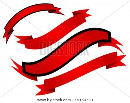 Red ribbon isolated on white background - vector illustration
