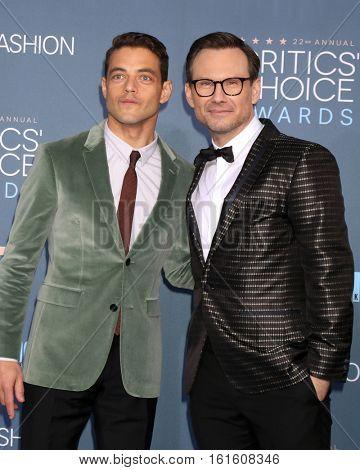 LOS ANGELES - DEC 11:  Rami Malek, Christian Slater at the 22nd Annual Critics' Choice Awards at Barker Hanger on December 11, 2016 in Santa Monica, CA