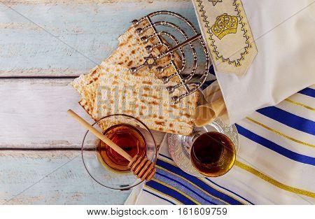 Jewish Holiday Pesah Passover With Matza