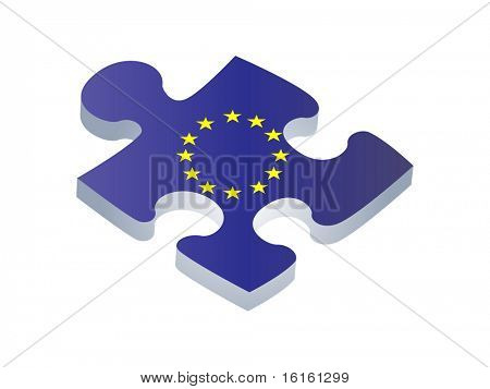 European union flag on puzzle piece