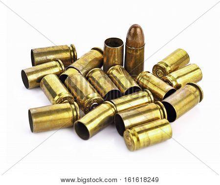 Bullet bullet casings isolated on white background