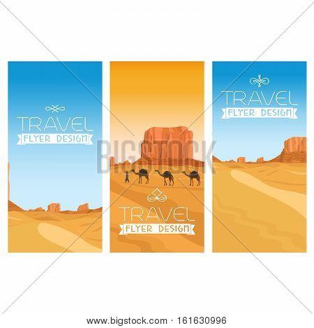 Mountains desert vector landscape flyers set. Egypt and camels