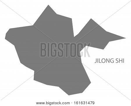 Jilong Shi Taiwan Map grey county silhouette illustration