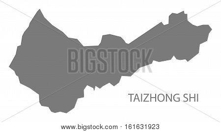 Taizhong Shi Taiwan Map grey county silhouette illustration